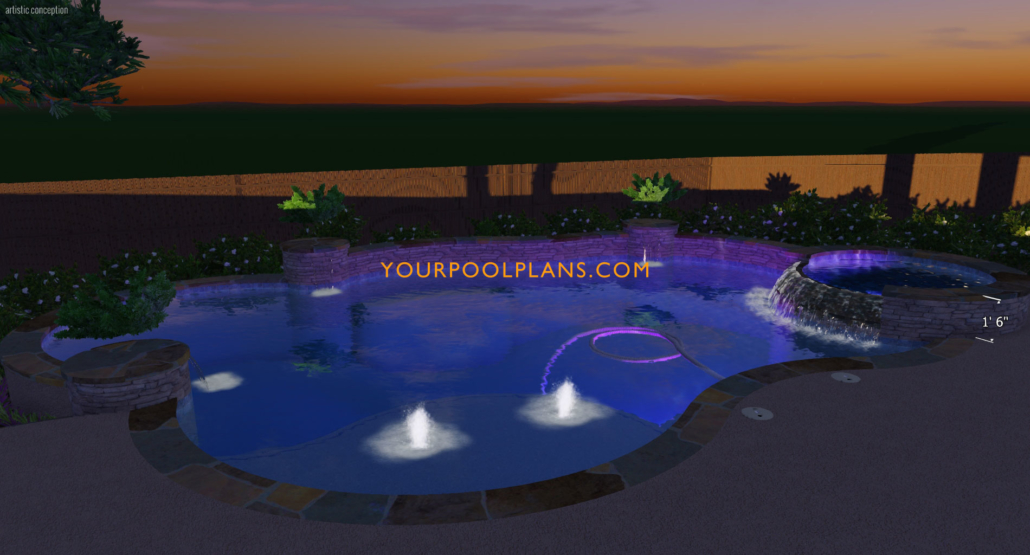 3d swimming pool design plan view night time settings