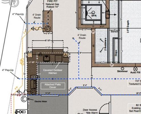 pool plans utitlity lines diagram layout