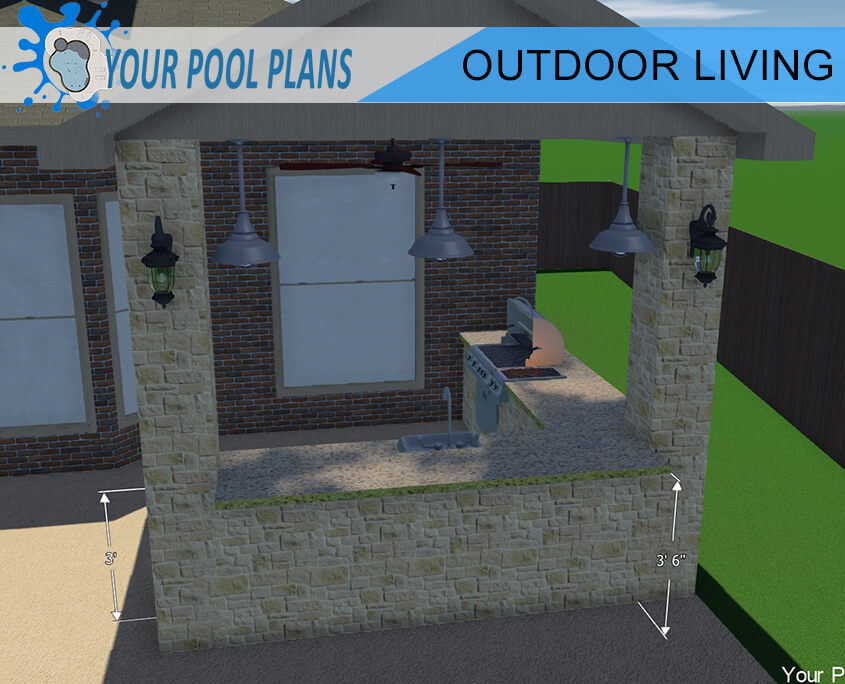 custom outdoor kitchen design construction plans 3D 3