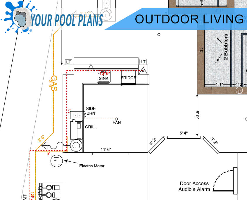 outdoor living kitchen design plans for construction