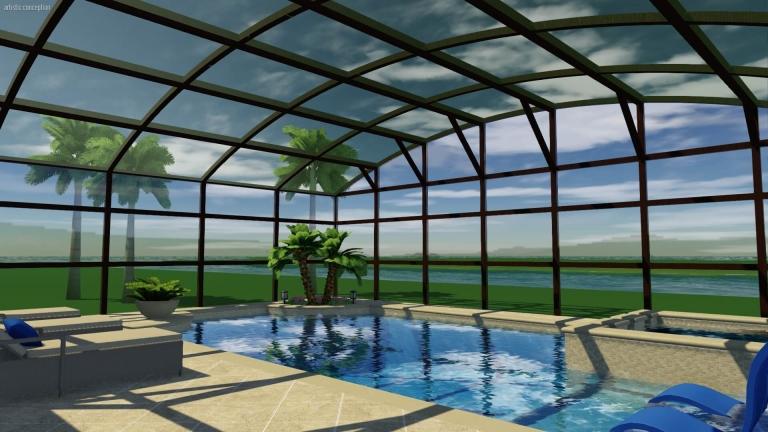 custom 3d pool design with enclosure