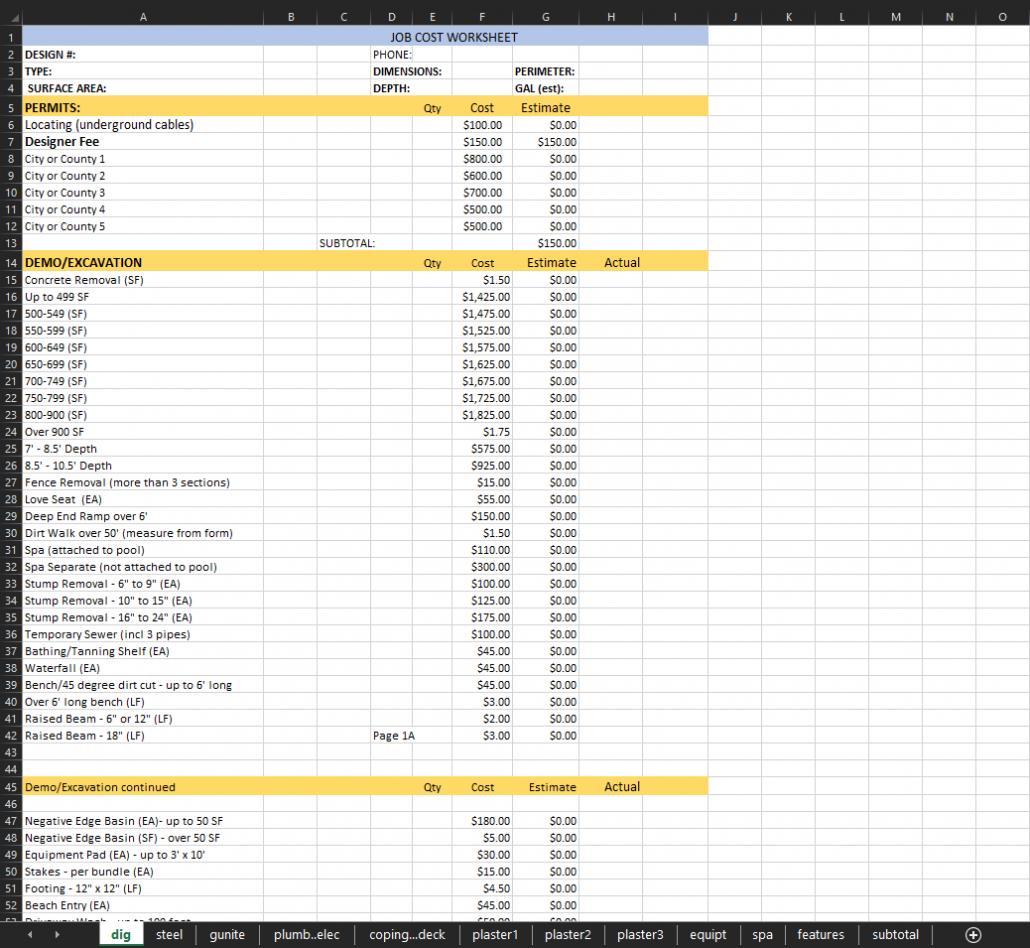 Pool Builder Bid Sheet Preview 1