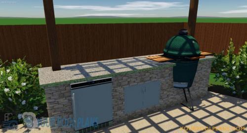 custom 3D outdoor kitchen designs construction plans
